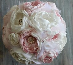 Wedding Fabric Bouquet With a BroochesBridal by MGFloralDesign