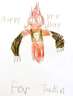 Student's drawing of a Valentine's Day card for his BFF.