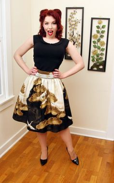 Gold Crane Gypsy skirt by heart of haute Black Skirt Outfits, Gypsy Skirt, Gathered Skirt, Vintage Inspired, Pin Up, Style Inspiration, Pretty, Tie Bow, Skirts