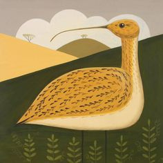 'Cautious Curlew' By Painter Catriona Hall. Blank Art Cards By Green Pebble. www.greenpebble.co.uk