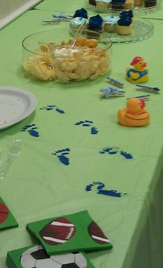 Baby foot prints on $1 table cloths for baby shower