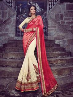 Pink and Cream Net Saree with Embroidery Work