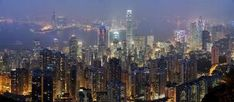 Hong Kong Skyline Art Poster Photography 24in x36 in