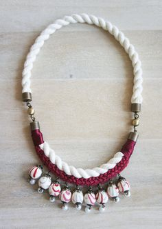 Handmade Fabric Spheres And Rope Necklace in Red by Lavalisedalice