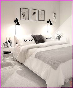 cozy grey and white bedroom ideas; bedroom ideas for small rooms; bedroom decor … - home decor on a budget bedroom Woman Bedroom, Girls Bedroom, Couple Bedroom, Trendy Bedroom, Modern Bedroom, Contemporary Bedroom, Minimalist Bedroom, Home Decor Bedroom, Living Room Decor