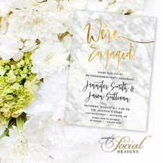 Calligraphy Engagement Party Invitation by SimplySocialDesigns