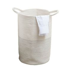 Rope Laundry Bag   Dunelm Laundry Bin, Laundry Hamper, White Laundry Basket, Glass Shower Panels, Bin Bag, White Rope, Creative Storage, Simple Bags, Cleaning Wipes