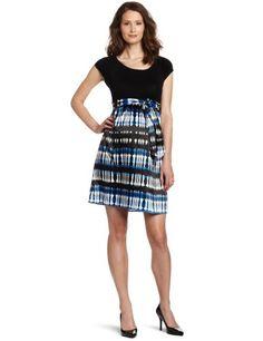 Maternal America Women`s Maternity Scoop Neck Front Tie Dress