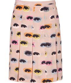 Moschino CBlush Eye Print Silk Skirt