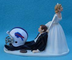 Wedding Cake Topper & Garter Set - Buffalo Bills Football Themed