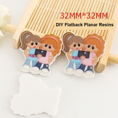 50pcs/lot Kawaii Girl Friends Flat Back Resins for Hair Bows Cartoon Character Planar Resin for DIY Craft Decorations