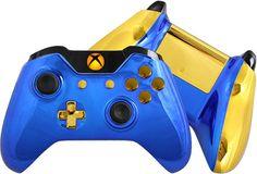 Chrome Xbox One Controller Custom Blue Chrome by EvilControllers #XboxOne #Blue #BlueChrome #Handmade #Gold #CustomLED #CustomController