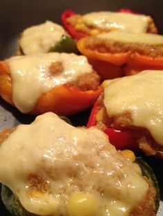 quinoa stuffed baked bell peppers with emmental