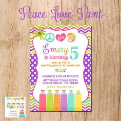 PEACE LOVE  PAINT invitation  You Print by PrettyPartyCreations, $11.50