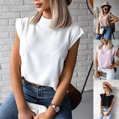 Trend Fashion, Plain Tops, Girls Fashion Clothes, Loose Tops, Blouse Styles, Printed Blouse, Short Sleeve Blouse, Blouses For Women, Mock Neck