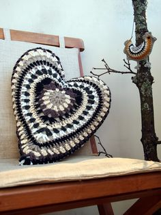 crochet heart pillow..would be pretty in bright colors too..
