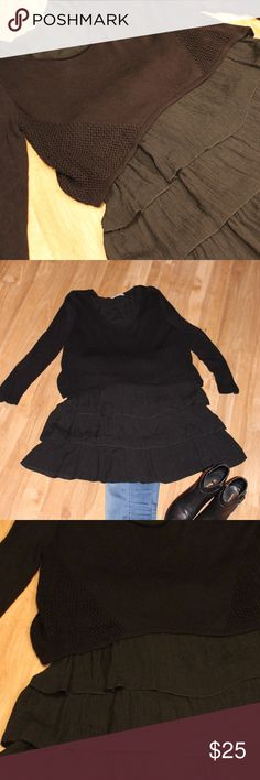 Layer Ruffle Tunic This cute tunic consists of a sweater overlay upper with ruffle bodice.  So cute with jeggings and booties. Tops Tunics