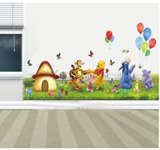 White Themed Sweet Kids Wall Decor Ideas with Cute Winnie the Pooh on the Large Front Green Yard Pattern Wall Sticker for Interior Kids Room