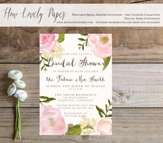 Printable Bridal Shower Invitation  the Collette by HowLovelyPaper