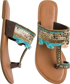 Gypsy inspired toe ring sandal http://www.swell.com/Womens-Footwear/SEQUINED-LEATHER-TOE-RING-SANDAL?cs=BU