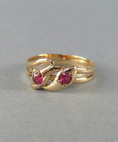 GORGEOUS Victorian ruby and gold double snake ring by LeolaRevives