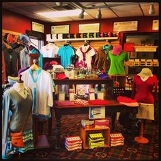 "The golf shop at work! Found this on pinterest today! too cool!     ""Large selection of golf gear for women in  the Pro Shop of White Cliffs Country Club.""  Large #Ladies League too!   #LPGA"