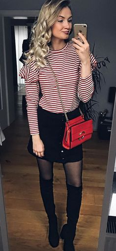 #winter #outfits red and white stripe long sleeve shirt