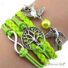 Armband Lebensbaum kiwi grün  im Organza Beutel