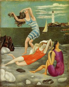 "Pablo Picasso - ""Les baigneuses (The bathers)"" 1918 - Oil on canvas - 27 × 22 cm. At the Art Gallery of Ontario in ""Picasso"" until August Pablo Picasso, Kunst Picasso, Art Picasso, Picasso Paintings, Georges Braque, Tomie Ohtake, Illustration Art, Illustrations, Spanish Painters"