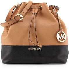 MICHAEL Michael Kors Jules Large Drawstring Shoulder Bag, Suntan/Black