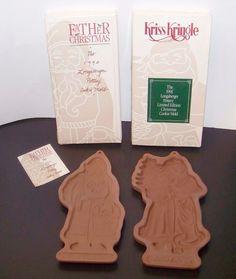 Longaberger Pottery Cookie Molds 1991 Kriss Kringle 1990 Father Christmas Kris