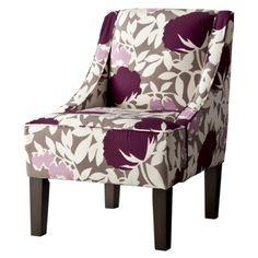Swoop Upholstered Slipper Chair- Lavendar Floral. $199