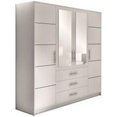 Ντουλάπα Bali σε μοντέρνο σχεδιασμό και λευκό χρώμα που θα φωτίσει το χώρο του υπνοδωματίου σας.- Διαθέτει 2 καθρέπτες στα κεντρικά φύλλα- Ράγα για κρεμάστρες στο κέντρο- 3 ευρύχωρα συρτάρια- 4 εσωτερικά ράφια στο δεξί και αριστερό φύλλο- Υψηλή ποιότητα κατασκευής Tall Cabinet Storage, Dresser, Furniture, Home Decor, Powder Room, Decoration Home, Room Decor, Stained Dresser, Home Furnishings