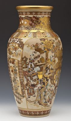 "A large and finely decorated Japanese Satsuma vase. Baluster form decorated with enameled scenes of women and children and royalty with attendants between panels of flowers on a diapered ground. Unmarked. Meiji period. MEASUREMENTS: 18"" high"
