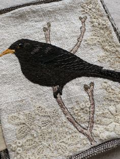♒ Enchanting Embroidery ♒ embroidered bird on linen | Gentlework