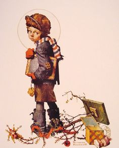 """Norman Rockwell Little Boy Holding Chalk Board  """"It's hard to go back to school after Christmas""""  (1927)"""