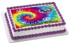 Tie Dye Peace Edible Birthday Cake Topper