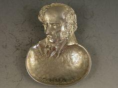 Bernard Instone (1891-1987), British / 'Wordsworth' cast silver figural tea caddy spoon with poet's head as handle to oval shape bowl, c. early 20th century, Birmingham, UK