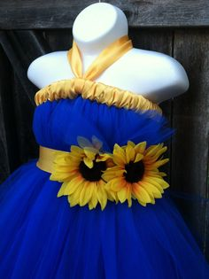 Flower Girl Tutu Dress Royal Blue with Sunflower by FancifulFluff
