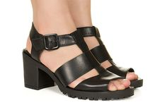 Sandalia preta com salto grosso Taquilla - Taquilla - Loja online de sapatos femininos