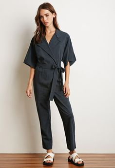 Collared Pinstripe Jumpsuit | Forever 21 - 2000113457