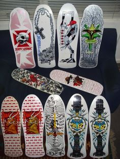 Powell Peralta white deck collection: Tony Hawk, Ray Underhill, Ray Barbee, Steve Caballero, Rodney Mullen, Kevin Harris, Skull & Sword, & Steve Saiz I had the Underhill!