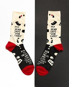 "These funny and sarcastic men's socks say, ""My head says 'Who cares.' And my socks are like, 'Yeah f*ck it. Funny Socks, My Socks, Crew Socks, Who Cares, Custom Socks, Word Up, Sarcasm, My Outfit, Creative Design"