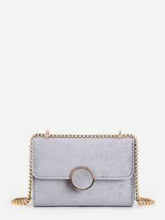 Bags by BORNTOWEAR. Round Button Velvet Flap Crossbody Bag