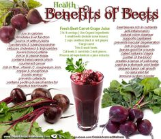 Beets ❥➥❥ Health Benefits: nature's Viagra, lessens tumor cell growth, low in calories, no saturated fat, stimulates liver function, Fiber, Vitamin C, Magnesium, Iron, Copper, Phosphorus, Potassium, boosts energy, fights Cataracts, Anti-inflammatory, natural colon cleaner