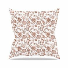 "East Urban Home Seashells Alisa Drukman Throw Pillow Size: 16"" H x 16"" W x 4"" D, Color: Brown"