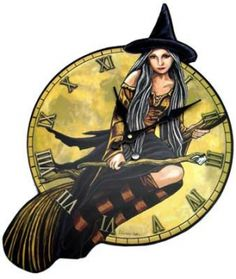 "Witch clock. A witch seated on her flying broomstick make up the face of this clock. Takes 1 AA battery - not included. Plywood Back, Laminated Vinyl face. 17 1/2"" x 10 1/2"" 2 1/2"""