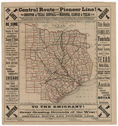 County and Railroad Map of Texas | Legacy of Texas