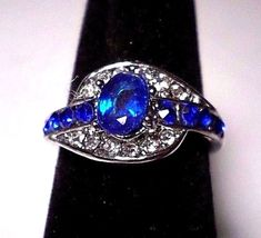 womens elegant blue crystal clear accents ring sizes 7- 8 or 9 silver plated #Unbranded #SolitairewithAccents