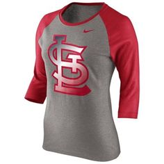 Nike St. Louis Cardinals Ladies Gradient Raglan Three-Quarter Length T-Shirt